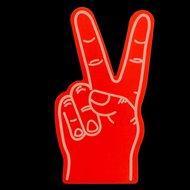 grote foam hand peace rood